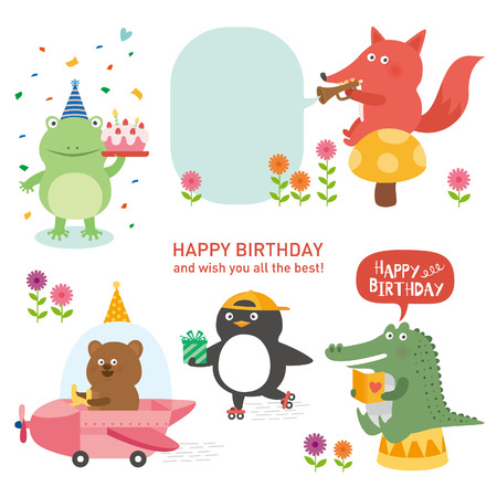 cute animal with happy birthday. vector illustration 向量圖像