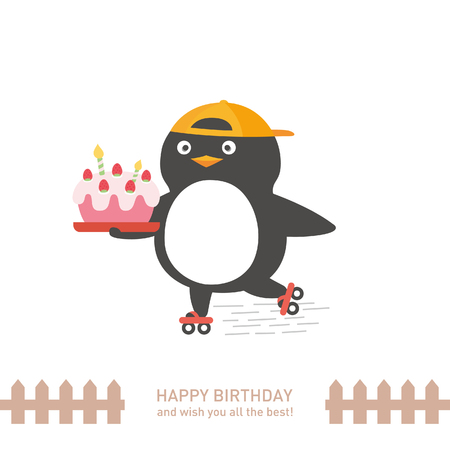 cute penguin with happy birthday. vector illustration Illustration