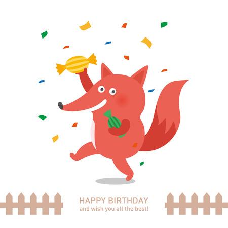 お誕生日おめでとうかわいい狐。ベクトル図