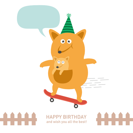 cute kangaroo with happy birthday. vector illustration Stok Fotoğraf - 73169209