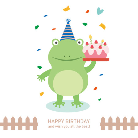 cute frog with happy birthday. vector illustration 向量圖像