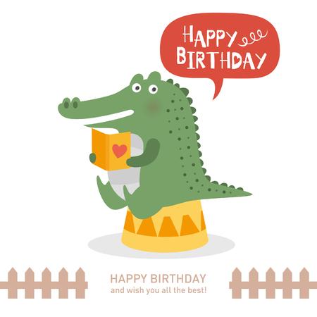 cute crocodile with happy birthday. vector illustration
