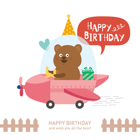 cute bear with happy birthday. vector illustration