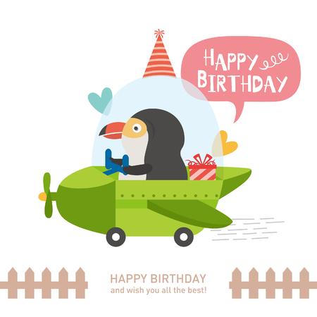 cute bird with happy birthday. vector illustration Çizim