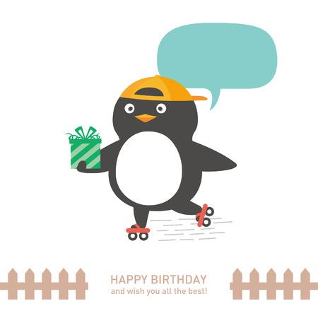 お誕生日おめでとう、かわいいペンギン。ベクトル図  イラスト・ベクター素材