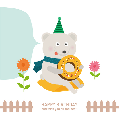 cute polar bear with happy birthday. vector illustration Stok Fotoğraf - 73169283