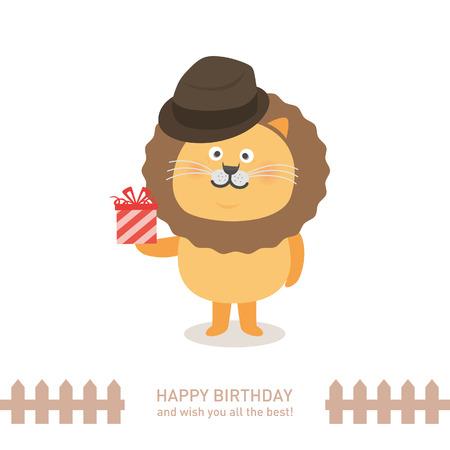 お誕生日おめでとう、かわいいライオン。ベクトル図  イラスト・ベクター素材