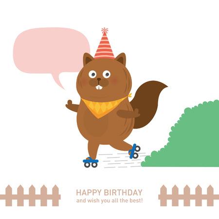 cute squirrel with happy birthday. vector illustration