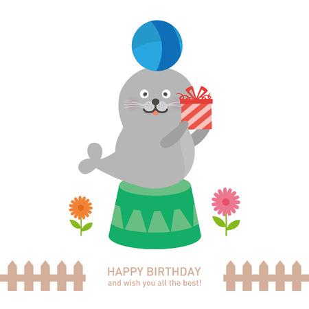お誕生日おめでとうかわいいシールです。ベクトル図  イラスト・ベクター素材