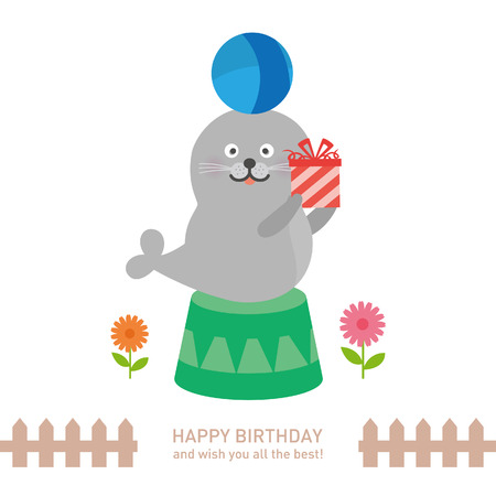 cute seal with happy birthday. vector illustration