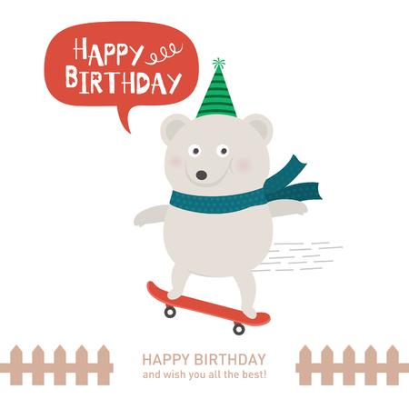 cute polar bear with happy birthday. vector illustration