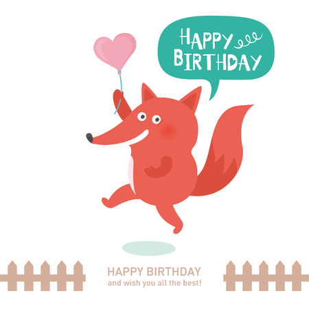 cute fox with happy birthday. vector illustration