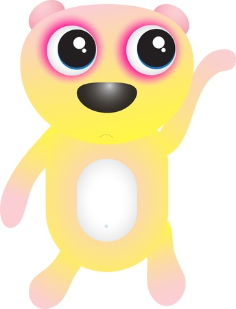 Cute waving yellow bear Vector