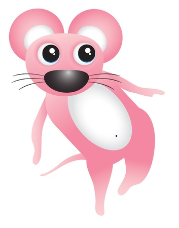 Dancing pink mouse Vector