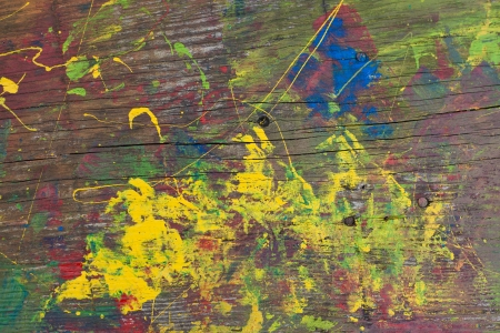 Yellow, green, blue and red abstract, naive, kid photo