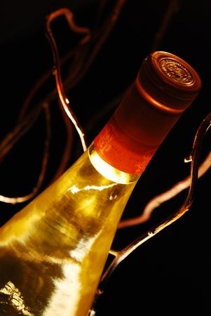 Une bouteille de vin blanc destiné à mettre beaucoup d'ambiances différentes Banque d'images - 10752363