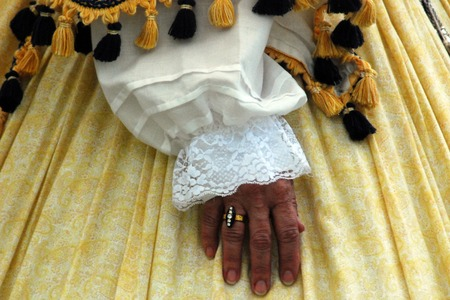 reenactment: Hand of a period reenactment Stock Photo