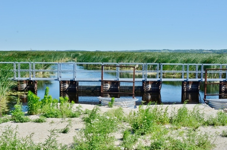 federally: Long Pier at Horicon Marsh Stock Photo
