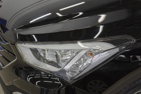 halogen lighting: car headlight. Stock Photo