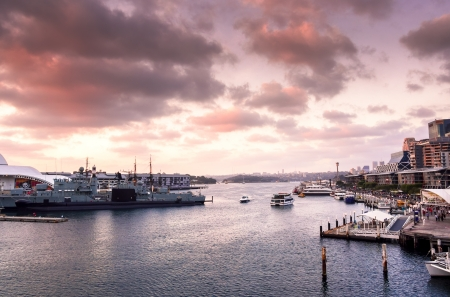A wide angled view of the beautiful Darling Harbour during a spring time sunset  photo