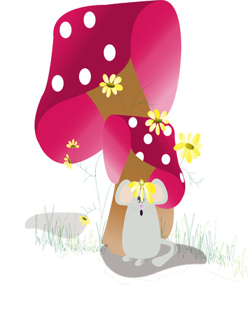 under the mushrooms