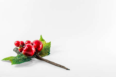 Christmas Holly branch over white background with red berries and green leaves. Copy space for text 版權商用圖片
