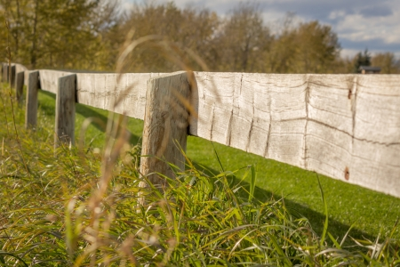 Wooden fence on golf course  photo