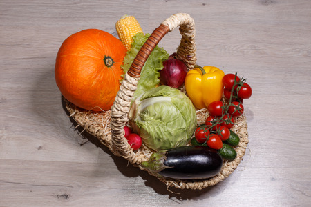 The basket contains vegetables for diet and health