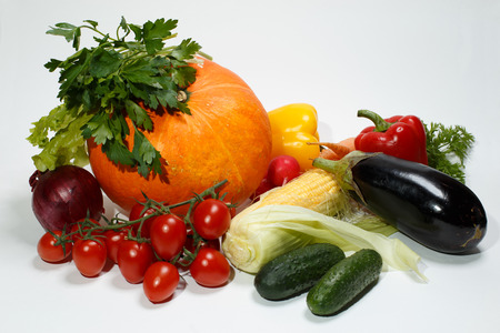 Pumpkin and a set of vegetables for vegetarian kitchen Stock Photo