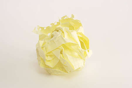 Crumpled yellow paper page Stock Photo