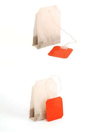 Teabags on white background Stock Photo