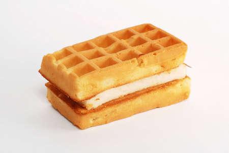 Waffle on white background Stock Photo