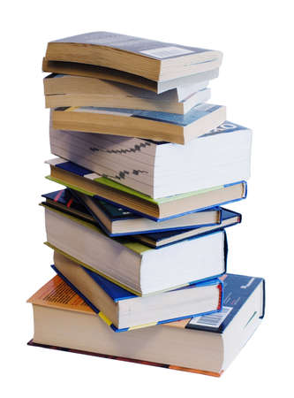 Heap of books of different colors and size Stock Photo