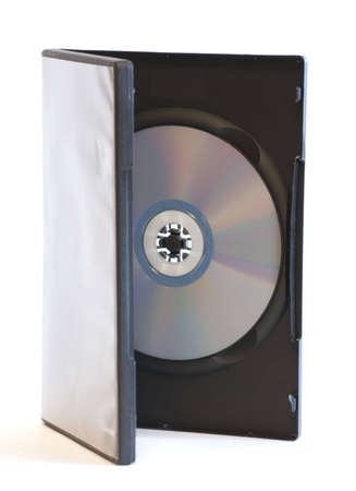 Half open DVD case with disc standing vertically over white background isolated photo