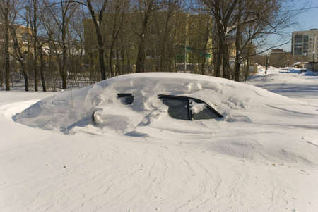snowdrift: Car under snowdrift Stock Photo