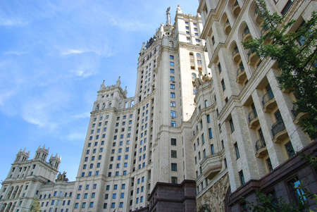 Building in Moscow - USSR architecture of Stalin style skyscraper Stock Photo