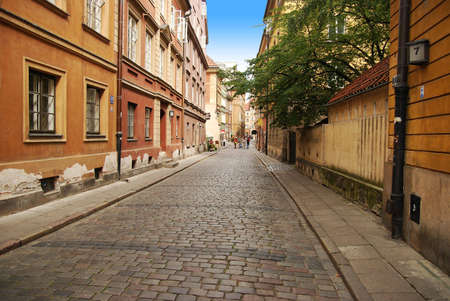 Warsaw old brick street pavement Stock Photo