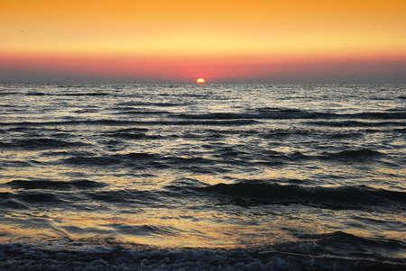 Adreatic sea wih sun and skies on horizon Stock Photo