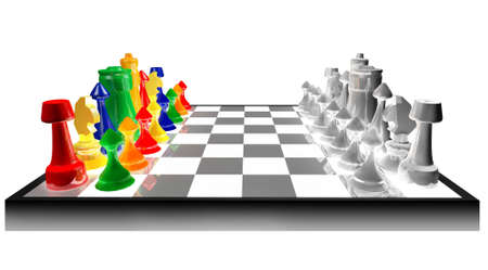 Colored chess concept against black and white isolated on white background Stock Photo