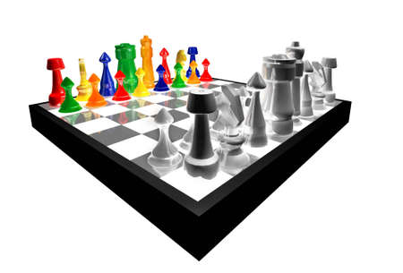 Colored chess figures concept play against black and white isolated on white background