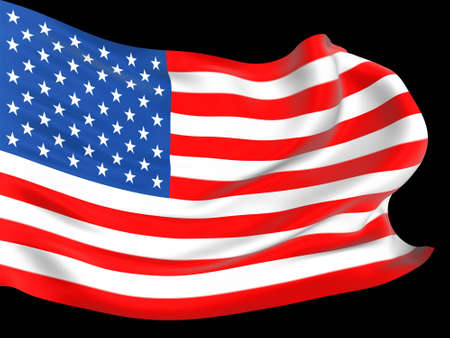American flag waving on the wind with folds and ripples 3D Stock Photo - 4010847