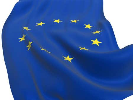 EU flag of united Europe on white background photo