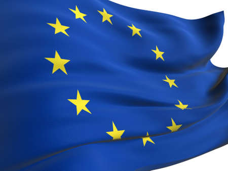 EU flag of united Europe on white background photo