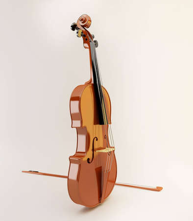 Nice violin on white background 3d CG
