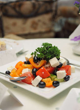 Greek salad in plate on a table