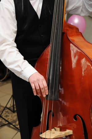 Mans hands playing contrabass Stock Photo