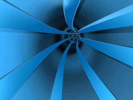 Abstract computer generated tunnel with long lines and curve in perspective Stock Photo