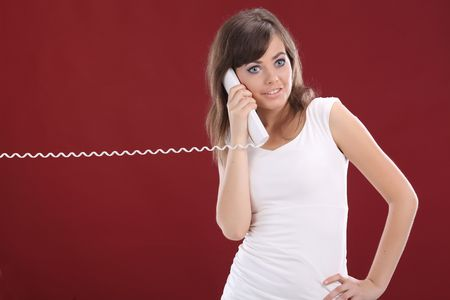 Woman on Phone . red background Stock Photo - 5138471