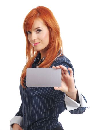 Woman with blank businesscard photo