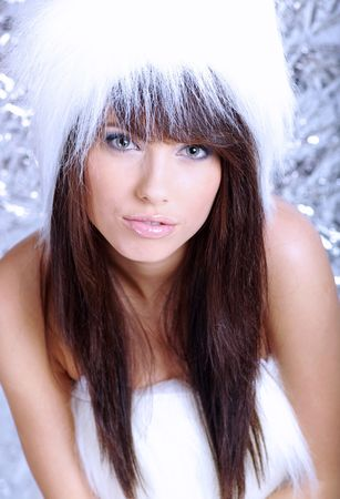 Winter Girl with beautiful make up, silver gloves  Stock Photo - 5184641